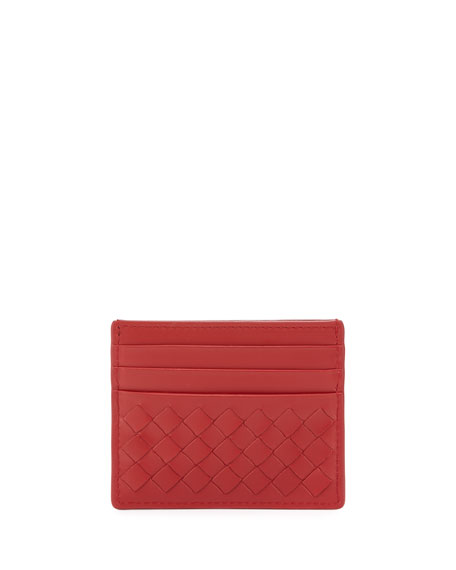 Intrecciato Leather Card Case, China Red
