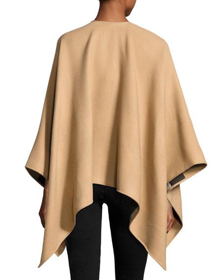 Charlotte Merino Zip-Front Poncho, Camel