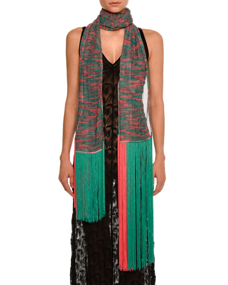 Missoni Long Sheer Fringe Scarf, Green/Pink