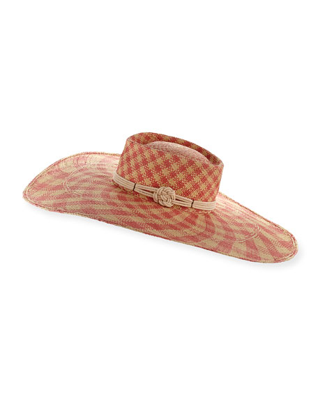 The Monroe Checkered Panama Hat, Pink/White