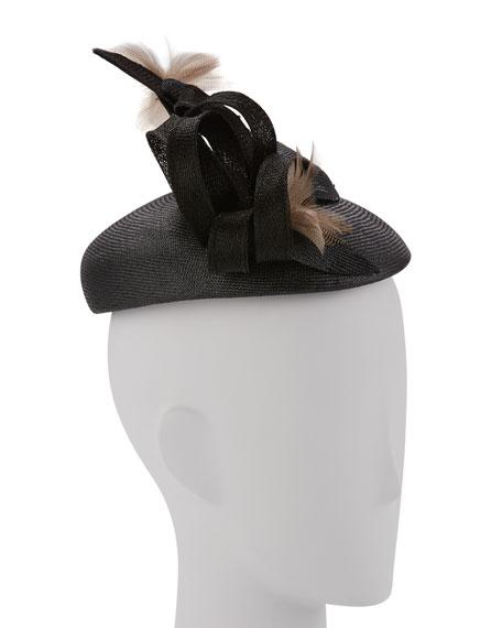 Straw Feather Spray Cocktail Hat