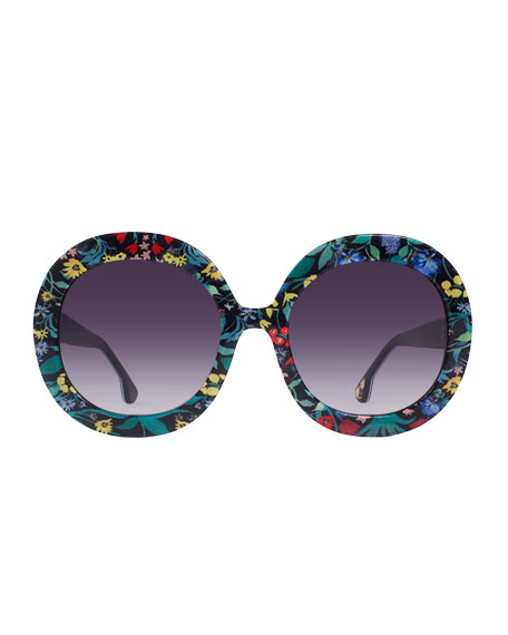 Melrose Round Floral Sunglasses, Multicolor