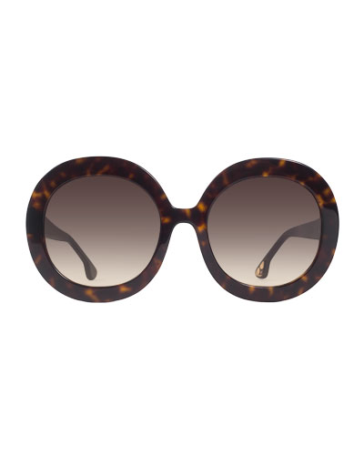 Melrose Round Sunglasses, Brown Tortoise