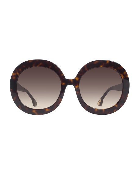 Alice + Olivia Melrose Round Sunglasses, Brown Tortoise