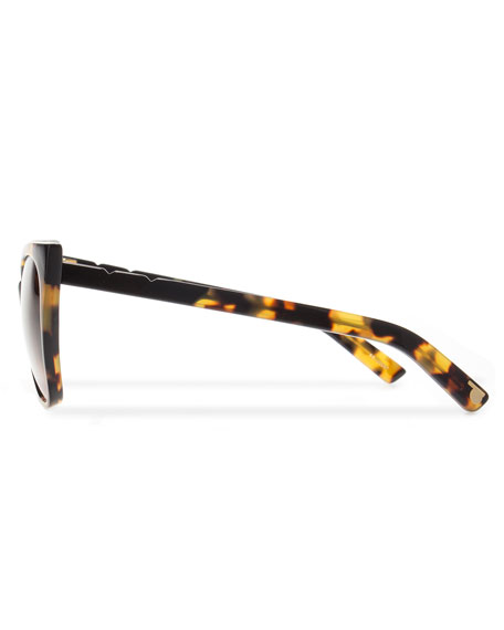 Cat and Mouse Cat-Eye Sunglasses, Black/Havana