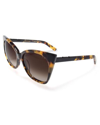 Cat and Mouse Cat-Eye Sunglasses, Black/Havana