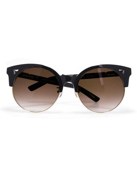 Up and At Em Semi-Rimless Round Sunglasses, Black/Gold