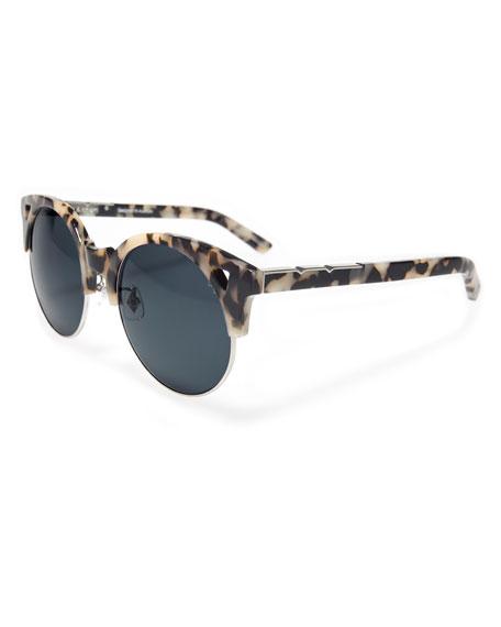 Up and At Em Semi-Rimless Round Sunglasses, White/Black