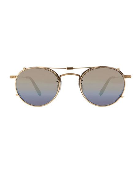 Wilson Round Optical Frames w/ Sunglasses Clip, Brown/Purple