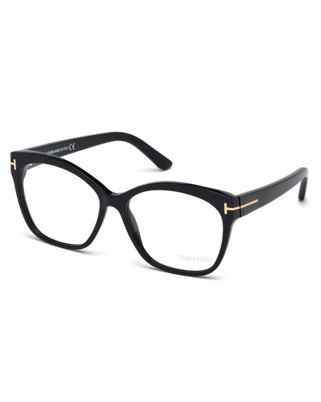 TOM FORD FT 5405 001 SHINY BLACK RECTANGLE EYEGLASSES, BLACK METALLIC