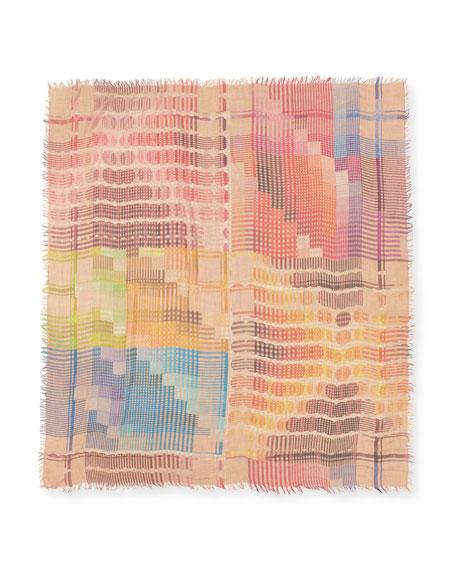 Prisca Geometric Lightweight Scarf, Multicolor