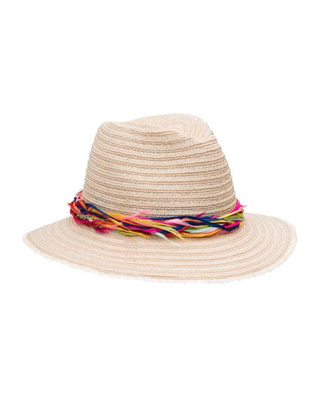 Courtney Feather-Band Wide-Brim Fedora Hat, Neutral