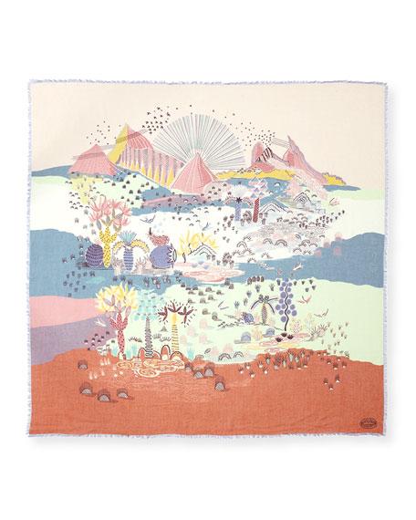 Garden of Delight Voile Shawl, Light Blue/Multicolor