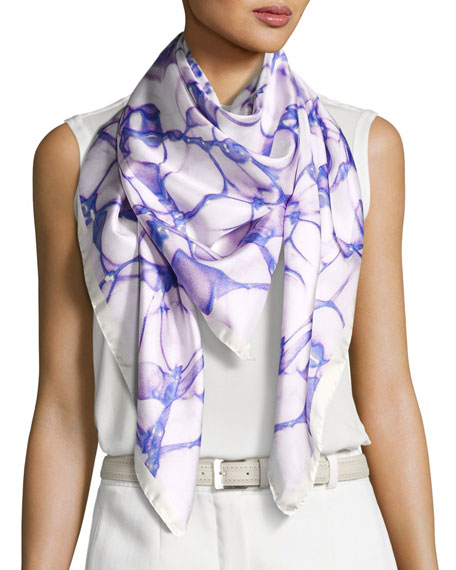 Silk Satin Square Water Scarf, Blue