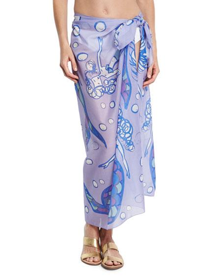 Anna Coroneo Cotton Voile Mermaid Scarf, Lilac