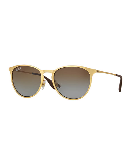 Ray-Ban Erika Rounded Square Polarized Sunglasses, Gold