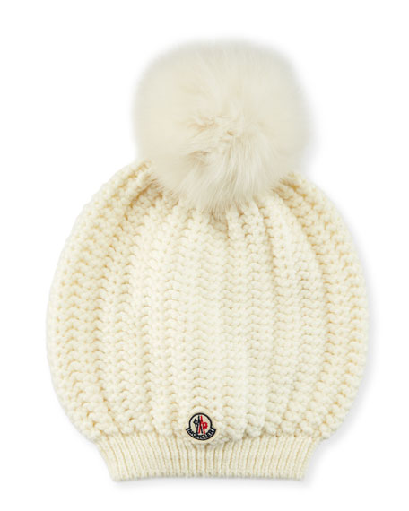 Moncler Bailey Slouchy Fur-Pom Beanie Hat
