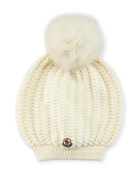 Moncler Bailey Slouchy Fur-Pom Beanie Hat 5a7d5564b93