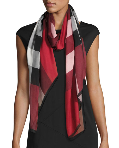 25928eb8680b Burberry Ultra Washed Mega Check Silk Scarf, Red