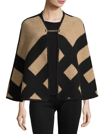 Check Wool-Blend Blanket Poncho, Camel