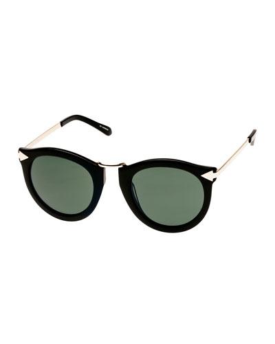 Harvest Round Monochromatic Sunglasses, Crazy Tortoise