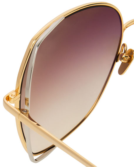 Oversized Open-Inset Butterfly Sunglasses, Gold