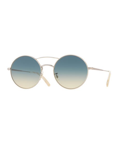Nickol Round Gradient Sunglasses, Beige