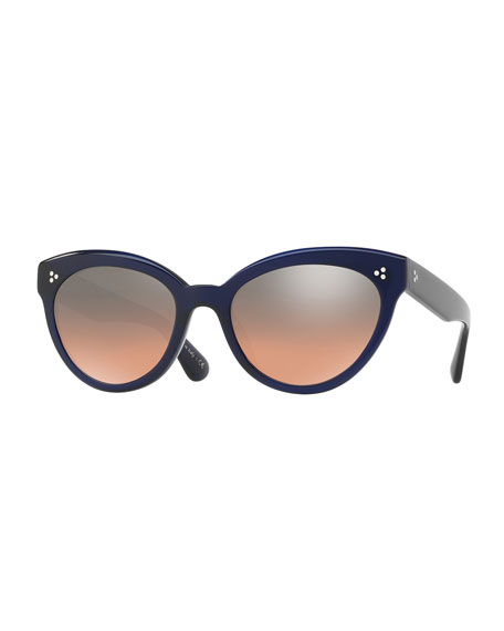 Roella Mirrored Cat-Eye Sunglasses, Blue