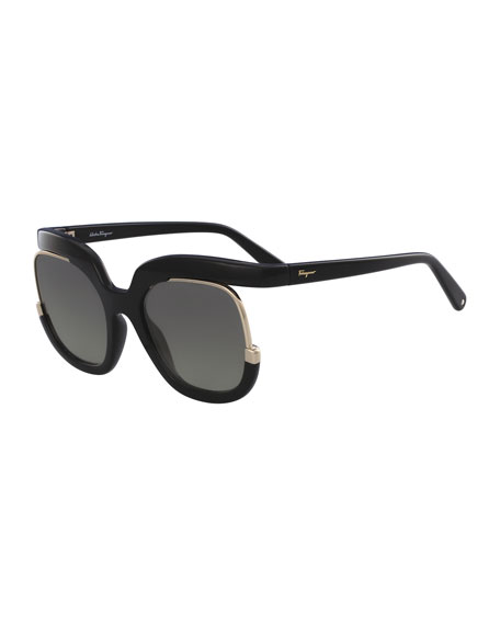 Square Cutout Sunglasses, Black