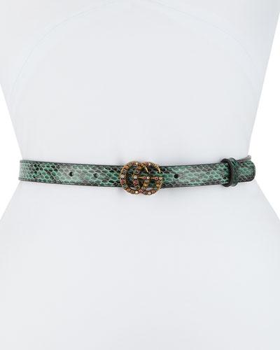 Jewel GG Snakeskin Belt