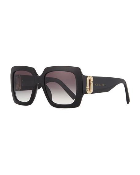 Neiman Marcus 110th Anniversary Edition Square Sunglasses, Black/Gray