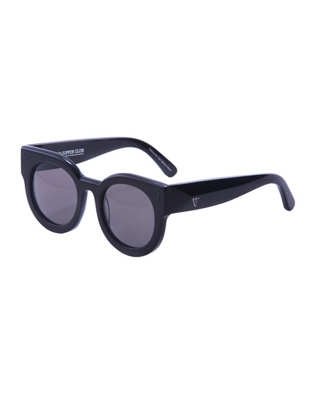 A Dead Coffin Club Round Faceted Sunglasses, Black