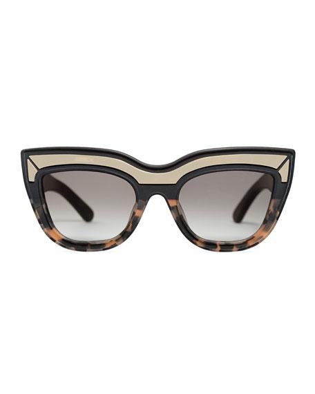 Marmont Limited Edition Cat-Eye Sunglasses, Black/Orange Tortoise