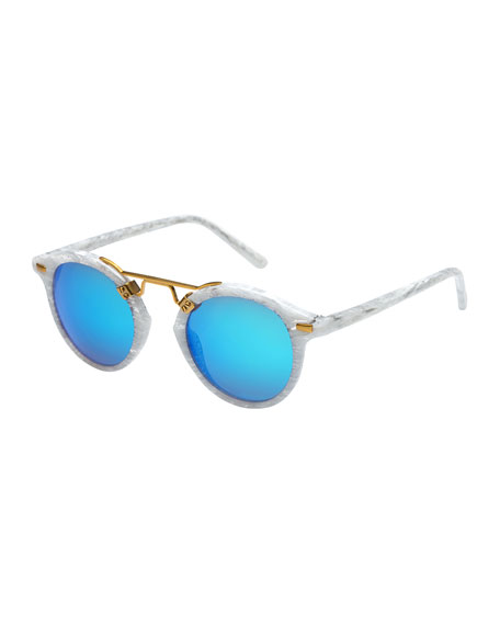 St. Louis Round Gradient Sunglasses, Blue/White