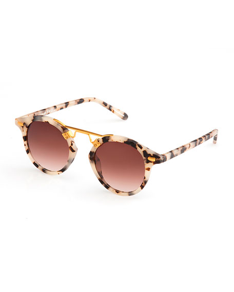 St. Louis Round Gradient Sunglasses, Rose/White Tortoise