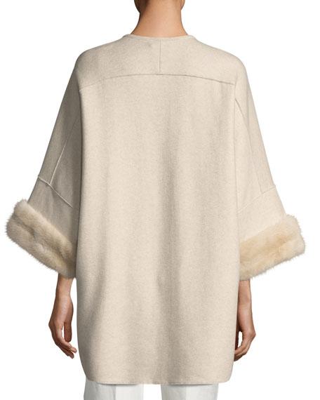Cashmere Coat with Mink Fur Cuffs, Brown/White