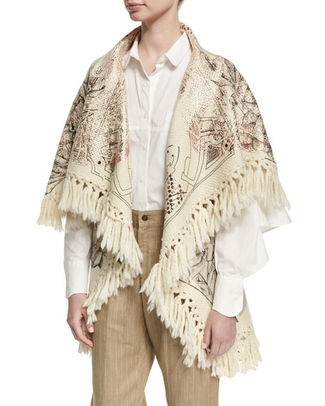 Tramando Embroidered Wool Poncho Vest, White