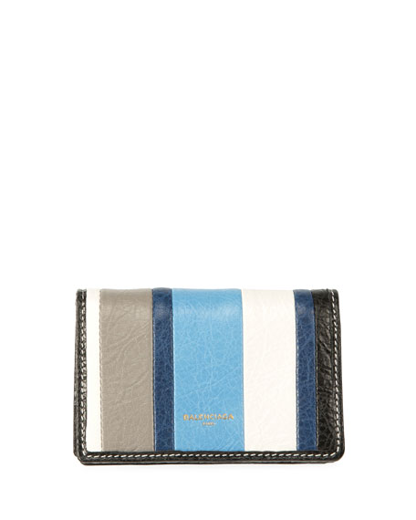 Balenciaga Bazar Striped Bi-Fold Card Case, Multi