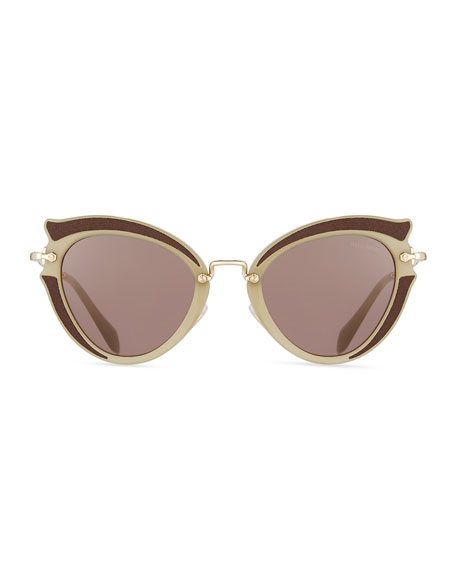 Noir Gradient Cat-Eye Silk Satin Sunglasses, Brown/Purple