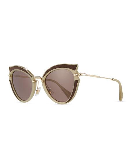 Miu Miu Noir Gradient Cat-Eye Silk Satin Sunglasses,
