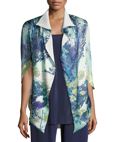 Gatsby Floral-Print Short Shawl Robe, Multi Pattern