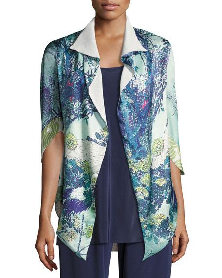 Gatsby Floral-Print Short Shawl Robe, Multi Pattern