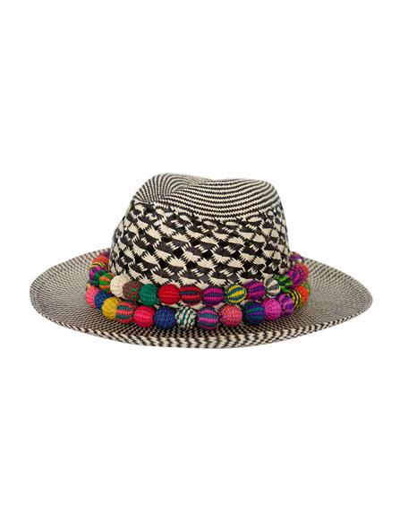 Caliente Straw Hat, Black/White