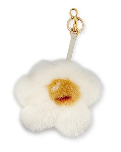 Mink-Fur Egg Charm for Handbag, White