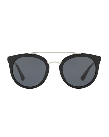 Monochromatic Double-Bridge Cat-Eye Sunglasses, Black