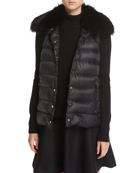 Buxus Coat & Quilted Puffer Vest W/ Fur Trim