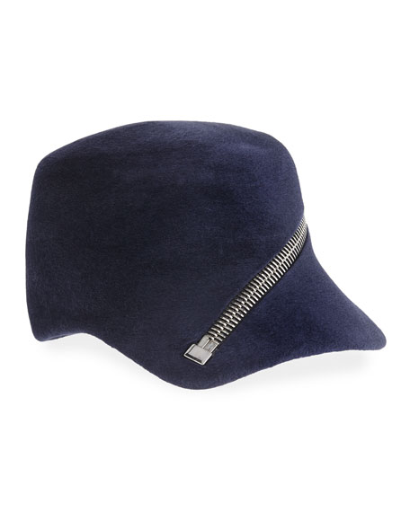 Velour Baseball Cap w/ Oversized Zip Detail, Navy