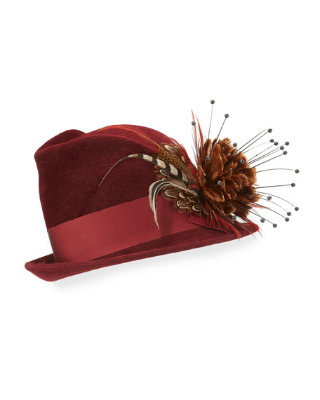 Feather Flower Wool Felt Fedora