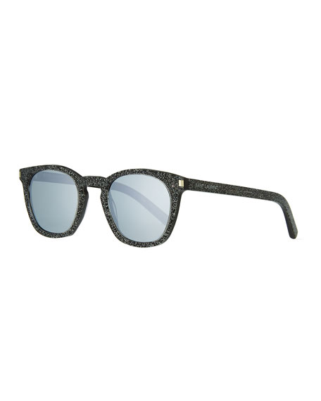 Saint Laurent Glittered Acetate Sunglasses, Gray Pattern