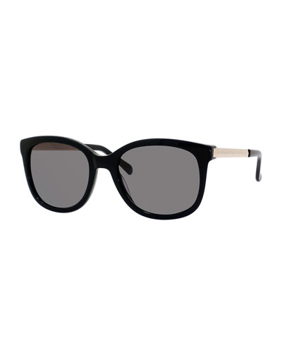 gayla round acetate sunglasses w/ metal trim
